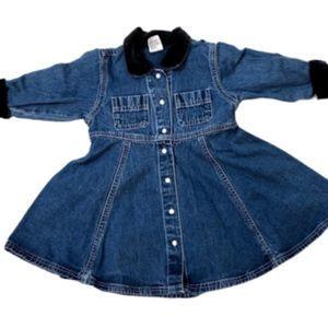 Gap Baby Jean Dress with Velvet black trim.